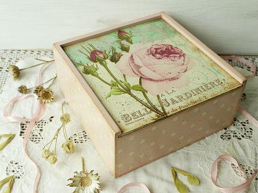 Корзины, коробы ручной работы. Ярмарка Мастеров - ручная работа. Купить Короб Мятная роза в  стиле шебби,в стиле винтаж. Handmade.