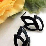 Материалы для творчества handmade. Livemaster - original item Studs earring with loop, black art. 7-4. Handmade.
