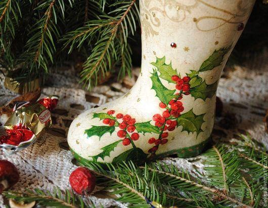Новый год 2017 ручной работы. Ярмарка Мастеров - ручная работа. Купить Новогодний сапожок. Handmade. Новый Год, рождественский подарок