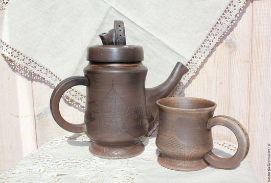 Чайники, кофейники ручной работы. Ярмарка Мастеров - ручная работа. Купить Чайник и чашка Крыши старого города. Handmade. Коричневый
