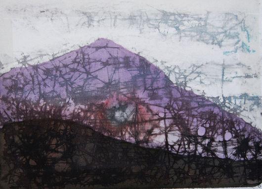 Пейзаж ручной работы. Ярмарка Мастеров - ручная работа. Купить Картина Mountain (Гора). Шелк, батик. Handmade. Картина батик