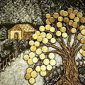 Картины ручной работы. Ярмарка Мастеров - ручная работа Панно денежное дерево богатство иней зима. Handmade.