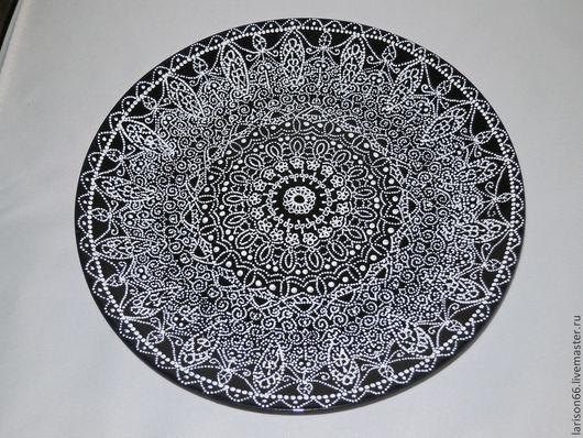 """Декоративная посуда ручной работы. Ярмарка Мастеров - ручная работа. Купить """"Кружева"""" декоративная тарелка. Handmade. Тёмно-синий, лак"""