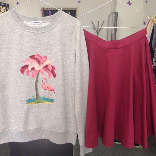 """Кофты и свитера ручной работы. Ярмарка Мастеров - ручная работа. Купить Свитшот """"Фламинго"""". Handmade. Серый, с вышивкой"""