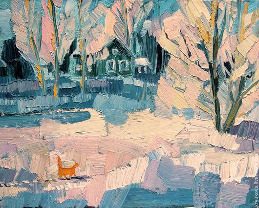 Картина маслом Зима в деревне Деревенский пейзаж маслом Теплая позитивная картина Яркая картина в подарок Картина домик домики