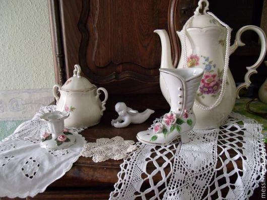 Винтажная посуда. Ярмарка Мастеров - ручная работа. Купить Фарфоровый кофейник и сахарница, Бавария, шебби. Handmade. Разноцветный, фарфор
