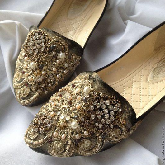 """Обувь ручной работы. Ярмарка Мастеров - ручная работа. Купить Балетки""""Sparkling Night""""в стиле DG. Handmade. Красивая обувь, италия"""