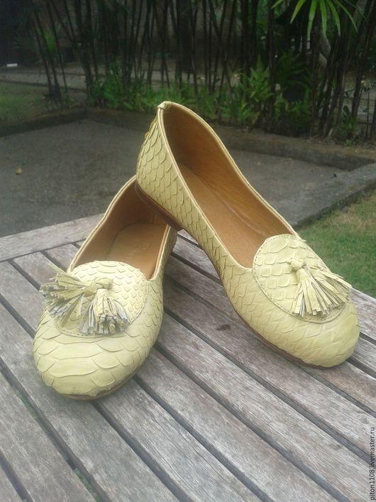 Обувь ручной работы. Ярмарка Мастеров - ручная работа. Купить Лоферы из кожи питона. Handmade. Балетки, балетки из кожи питона