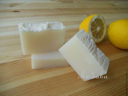 """Мыло ручной работы. Ярмарка Мастеров - ручная работа. Купить Хозяйственное мыло """"Лимонное"""". Handmade. Белый, для стирки, мыло для уборки"""