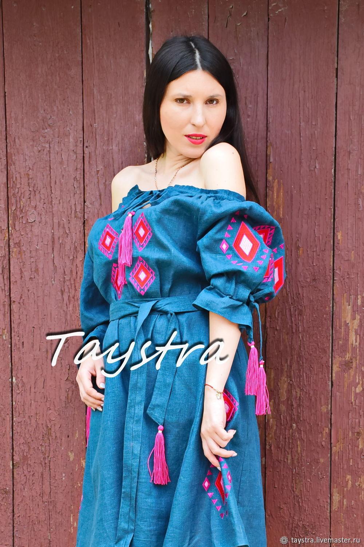 Embroidered Green Dress,Vyshyvanka Dress, Gypsy Dress, Dresses, Chernovtsy,  Фото №1