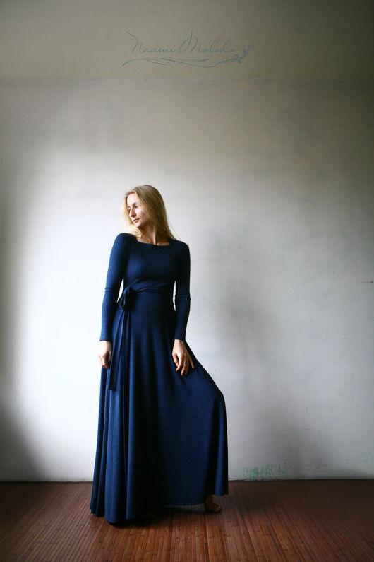 """Платья ручной работы. Ярмарка Мастеров - ручная работа. Купить Платье """"Хур"""". Handmade. Тёмно-синий, женственность, трикотажное платье"""