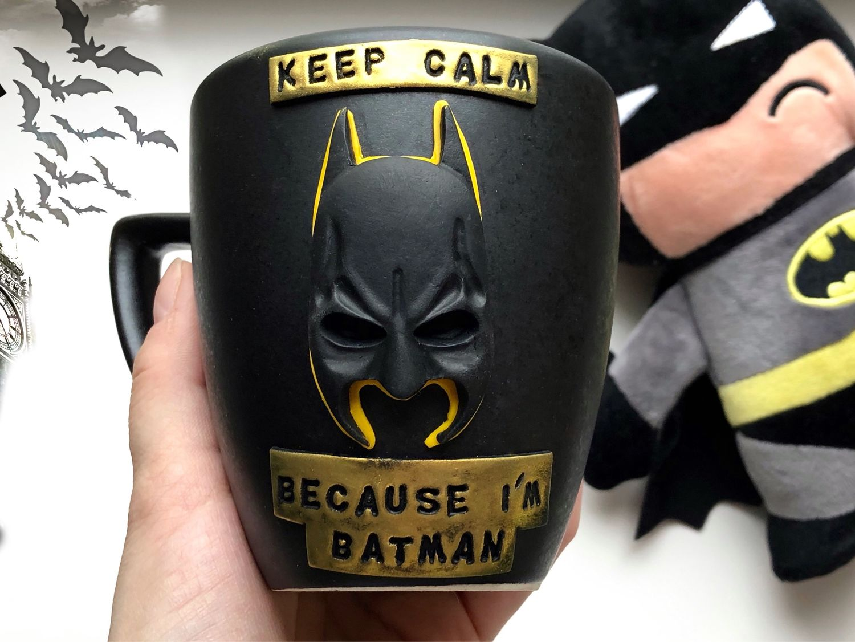 Бэтмен из полимерной глины на кружке. Подарок для мальчика, мужчины, Кружки и чашки, Санкт-Петербург,  Фото №1