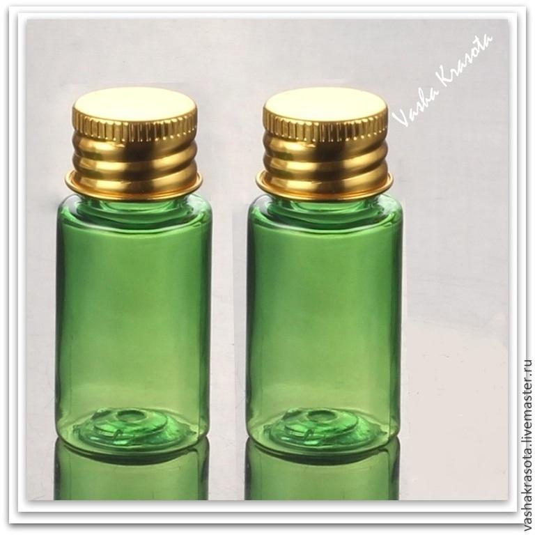 Упаковка ручной работы. Ярмарка Мастеров - ручная работа. Купить Флакон 10 мл. зеленый с золотистой крышкой. Handmade. Бутылка