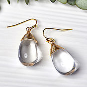Украшения handmade. Livemaster - original item Large drop earrings in 24K gold. Handmade.