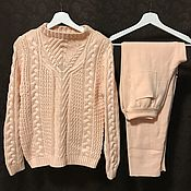 Одежда handmade. Livemaster - original item A cashmere suit with braided sweater Peach. Handmade.