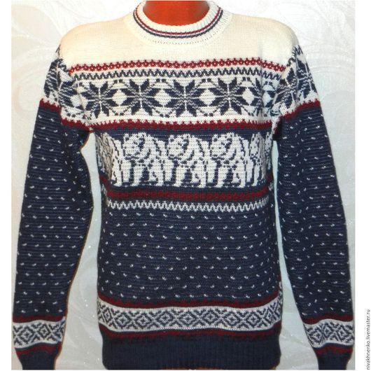 Кофты и свитера ручной работы. Ярмарка Мастеров - ручная работа. Купить Вязаный свитер Медведи с норвежским орнаментом. Handmade.