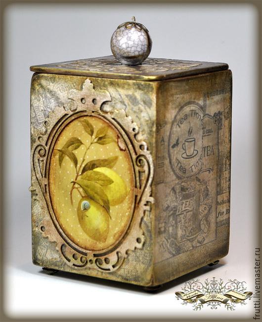 """Корзины, коробы ручной работы. Ярмарка Мастеров - ручная работа. Купить Чайный короб """"Чай с лимоном"""". Handmade. Лимонный, короб"""
