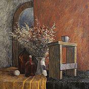 Картины ручной работы. Ярмарка Мастеров - ручная работа Натюрморт с сухоцветами. Масло, холст, 100х90 см. Handmade.