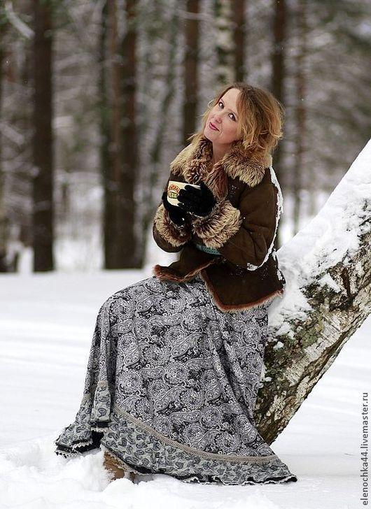 """Юбки ручной работы. Ярмарка Мастеров - ручная работа. Купить Длинная юбка """"Хочу чаю"""". Handmade. Серый, бохо шик"""