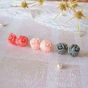 Украшения handmade. Livemaster - original item Earring studs Micro Roses to choose Gray Pink Coral. Handmade.