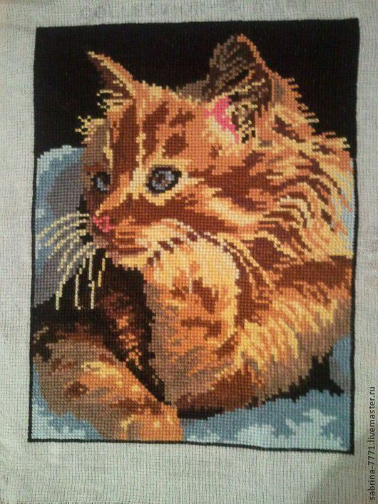 Животные ручной работы. Ярмарка Мастеров - ручная работа. Купить вышивка крестиком. Handmade. Рыжий кот, Вышивка крестом, мулине