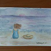 Открытки ручной работы. Ярмарка Мастеров - ручная работа Море. Открытка акварелью. Handmade.