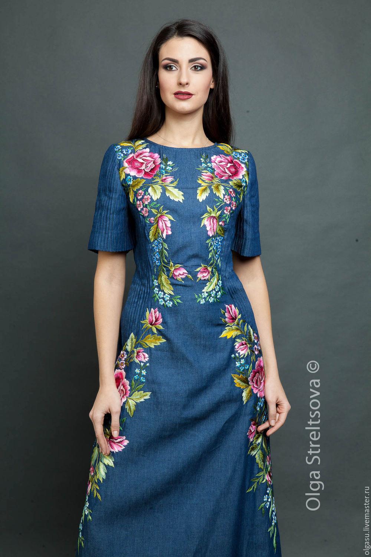 Длинное платье с вышивкой тёмно-синее, Платья, Винница, Фото №1