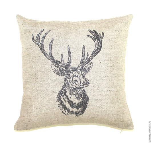 """Текстиль, ковры ручной работы. Ярмарка Мастеров - ручная работа. Купить Льняная подушка с вышивкой """"Олень"""". Handmade. Темно-серый"""