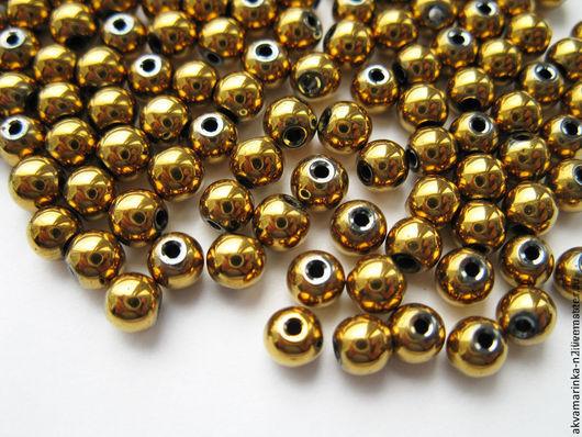 Для украшений ручной работы. Ярмарка Мастеров - ручная работа. Купить Гематит. Бусины 4 мм, золотой, по 10 штук.. Handmade.