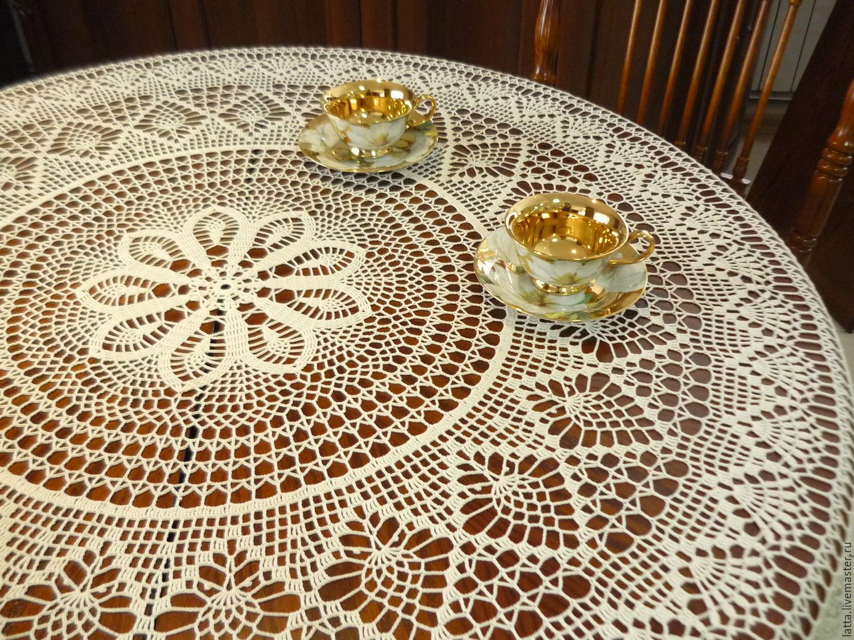 Техника вязания крючком прямоугольной скатерти на стол 100