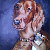 Картины и панно handmade. Livemaster - original item Oil painting with Irish setter Portrait of Leia. Handmade.