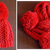 Работы для детей, handmade. Livemaster - original item Knitted kit Little Red Riding Hood, knitted hat, knitted scarf.. Handmade.