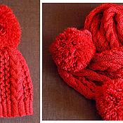 Работы для детей, ручной работы. Ярмарка Мастеров - ручная работа Вязаный комплект Красная Шапочка, вязаная шапка, вязаный шарф.. Handmade.