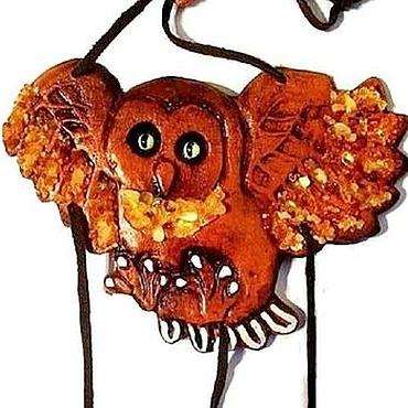 Картины и панно ручной работы. Ярмарка Мастеров - ручная работа Сова керамика с янтарь панно на стену для интерьера ручная работа. Handmade.