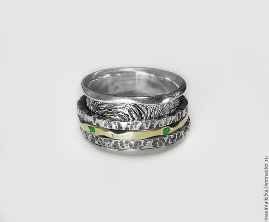 """Кольца ручной работы. Ярмарка Мастеров - ручная работа. Купить Кольцо """"Древние отпечатки"""" изумруды, золото 585, серебро 925 РЕЗЕРВ. Handmade."""