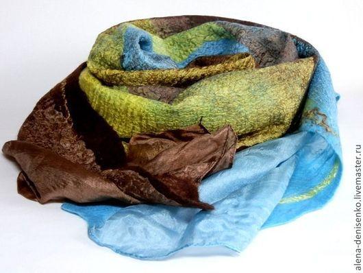 Шарфы и шарфики ручной работы. Ярмарка Мастеров - ручная работа. Купить шарф валяный золотисто-коричнево-голубой по мотивам. Handmade.