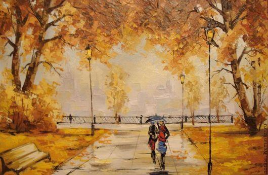 Город ручной работы. Ярмарка Мастеров - ручная работа. Купить Двое под зонтом. Handmade. Разноцветный, картина, картина для интерьера