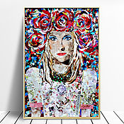 Картины и панно handmade. Livemaster - original item Painting in the technique of collage with the portrait of Russian beauty. Handmade.