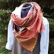 Шарфы ручной работы. Ярмарка Мастеров - ручная работа Льняной шарф-палантин. Handmade.