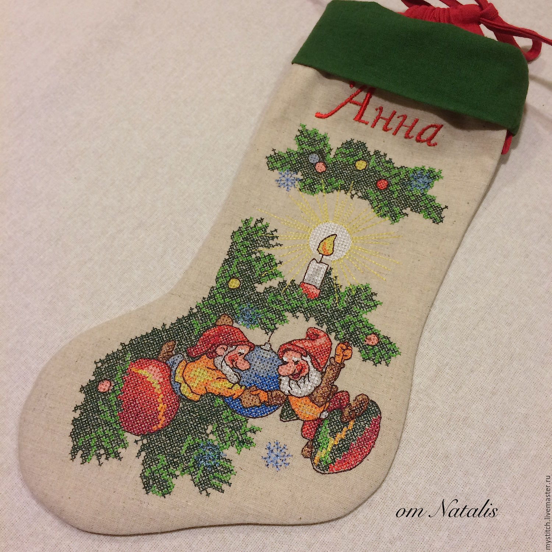Новогодняя вышивка носок