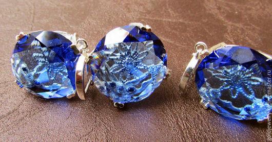 Комплекты украшений ручной работы. Ярмарка Мастеров - ручная работа. Купить Серебряный Комплект кольцо серьги в позолоте 18K голубая луна. Handmade.