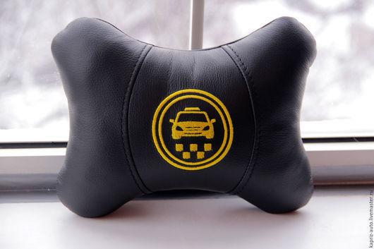 Автомобильные ручной работы. Ярмарка Мастеров - ручная работа. Купить TAXI (Такси).Автоподушка для шеи.Натуральная кожа. Handmade. Черный