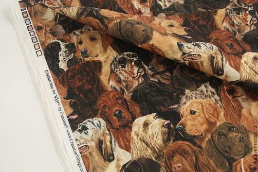 """Шитье ручной работы. Ярмарка Мастеров - ручная работа. Купить Ткань """"Собаки. Общий портрет"""". Handmade. Ткани, ткань для пэчворка"""