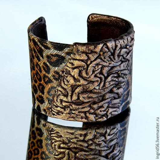 Авторский браслет из натуральной кожи Леопард, купить авторский браслет из кожи, браслет из кожи с леопардовым принтом купить, коричневый кожаный браслет, коричневый браслет из кожи
