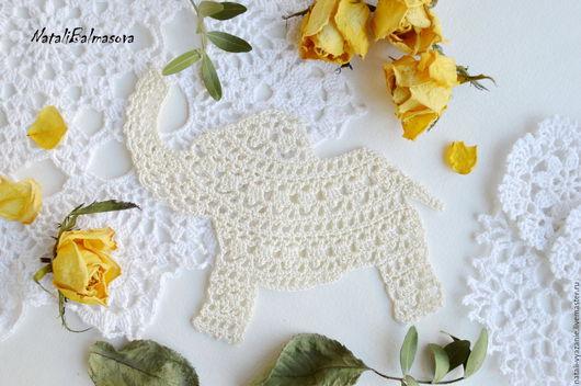 Текстиль, ковры ручной работы. Ярмарка Мастеров - ручная работа. Купить Ажурный слон вязаный. Handmade. Бежевый, слон, слоник