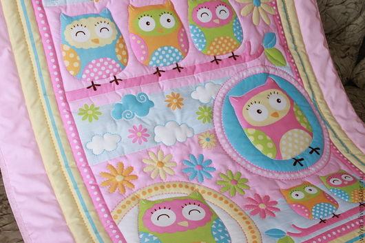 """Пледы и одеяла ручной работы. Ярмарка Мастеров - ручная работа. Купить Одеяло детское """"Совята"""" розовое. Handmade. Рисунок, сова"""