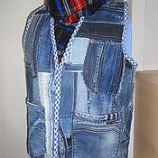 Одежда ручной работы. Ярмарка Мастеров - ручная работа Жилет джинсовый  для него или для нее. Handmade.