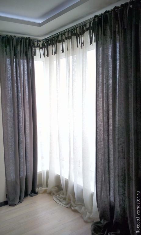 Текстиль, ковры ручной работы. Ярмарка Мастеров - ручная работа. Купить Комплект штор из льна «Великолепие». Ручная работа.. Handmade.