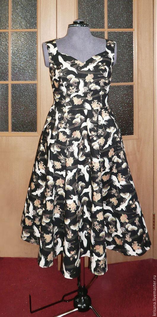 Платья ручной работы. Ярмарка Мастеров - ручная работа. Купить Платье с журавлями. Handmade. Комбинированный, хлопок, платье летнее