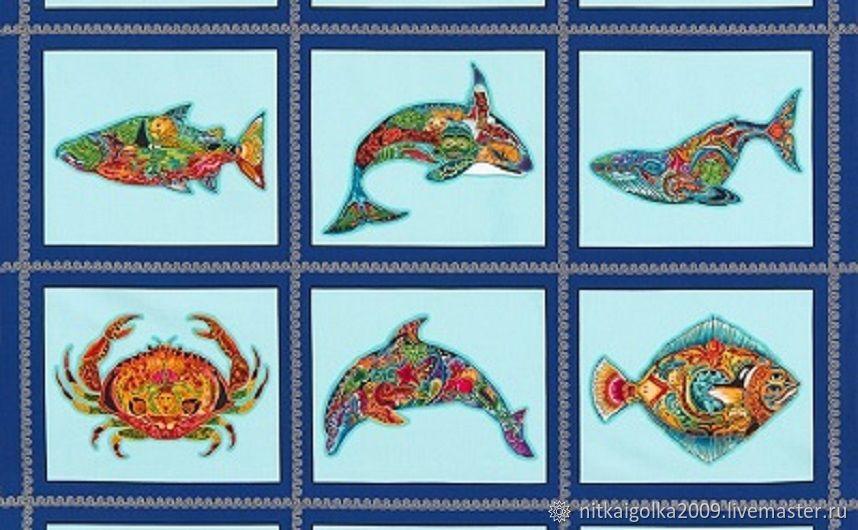 Ткань для пэчворка  Animal Spirits Sealife Panel-K Water, Ткани, Липецк,  Фото №1